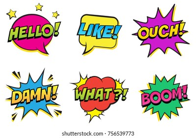 Retro colorful comic speech bubbles set with halftone shadows on white background. Expression text HELLO, LIKE, OUCH, DAMN, WHAT, BOOM. Vector illustration, pop art style.