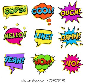 Retro colorful comic speech bubbles set on white background. Expression text BANG, OUCH, NO, HELLO, YEAH, DAMN, LIKE, COOL, WOW. Vector illustration, pop art style.