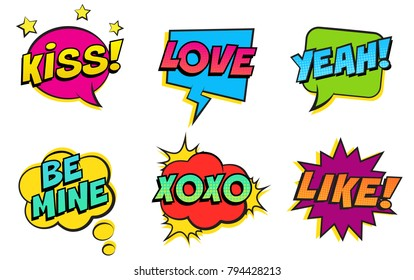 Retro colorful comic speech bubbles set for Valentine's Day. Isolated on white background. Expression text KISS, LOVE, YEAH, BE MINE, XOXO, LIKE. Vector illustration, pop art style.