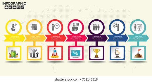 Retro colorful Timeline Infographic. With set of Icons. Vector design template.