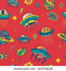 Retro Colorful UFO Invader in the Space Galaxy Seamless Pattern. Background Wallpaper
