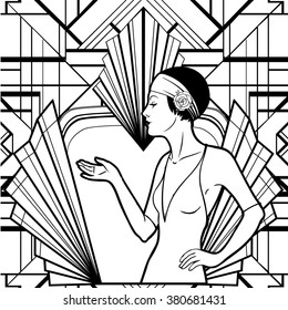 1000 vintage flapper girl pictures royalty free images stock 20s Dresses Up Styles retro coloring book for kids and adults retro women of twenties vector illustration