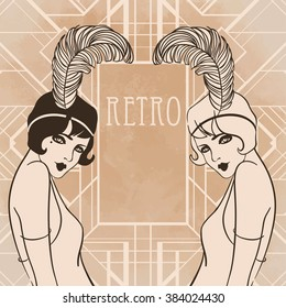 Retro coloring book for kids and adults: retro women of twenties. Vector illustration. Flapper girl 20's style. Retro party invitation design template. Black outlines isolated on white.