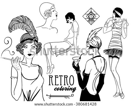 Retro coloring book for
