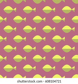 Retro colorized seamless pattern made with geometric fishes