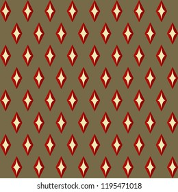 Retro colors Christmas pattern. Simple geometric red dimond allover motif. Vintage design home holiday decoration, interior textile, fabric, wallpaper, postcards, flyers background, flags and tags.