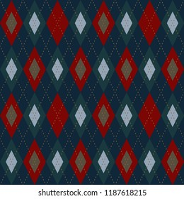 Retro colors Christmas pattern. Vintage red, blue, green argyle design. Home holiday decoration, interior textile, fabric, wallpaper, invitation cards background, flyers, banners. Vector illustration.