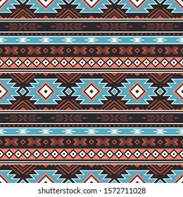 retro colors tribal vector seamless navajo pattern. aztec abstract geometric art print. Ethnic vector background. Wallpaper, cloth design, fabric, tissue, cover, textile template.