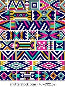 retro colors tribal vector seamless ndebele pattern. aztec abstract geometric art print. ethnic navajo vector background. Wallpaper, cloth design, fabric, paper, cover, textile template.