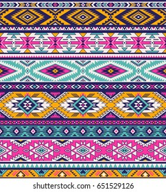 retro colors tribal vector seamless navajo pattern. aztec abstract geometric art print. ethnic  background.  Wallpaper, cloth design, fabric, tissue, cover, textile template. vector illustration