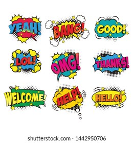 Retro comic bubbles vector set with halftone