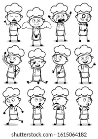 Retro Comic Chef Character Poses - Collection of Concepts Vector illustrations