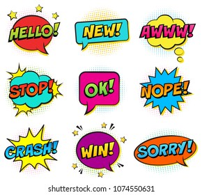 Retro comic colorful speech bubbles set on white background. Expression text HELLO, NEW, AWWW, STOP, OK, NOPE, CRASH, WIN, SORRY. Vector illustration, pop art style.