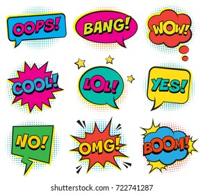 Retro comic colorful speech bubbles set with halftone shadows on white background. Expression text BANG, OMG, WOW, OOPS, LOL, NO, BOOM, COOL, YES. Vector illustration, vintage design, pop art style.