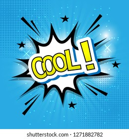 Retro comic cool text on blue background, stock vector