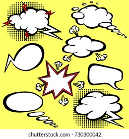 Retro comic empty speech bubbles and elements with black halftone shadows. Vector illustration, vintage design, pop art style. isolated on a yellow background
