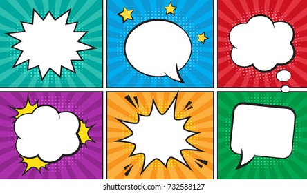 Retro comic empty speech bubbles set on colorful background. Vector illustration, vintage design, pop art style.