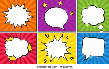 Retro comic empty speech bubbles set on colorful background. Vector illustration, vintage design, pop art style