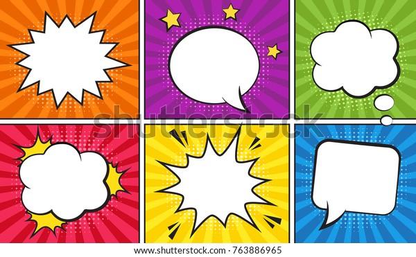 Retro comic empty speech bubbles set on colorful background. Vector illustration, vintage design, pop art style