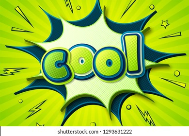 Retro comic poster: Cool, star burst bubbles with halftone and sound effects. Colorful cartoon banner in comics book and pop art style. Vector bright green-blue illustration