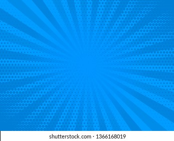 Retro comic rays blue dots background. Vector illustration in pop art retro style