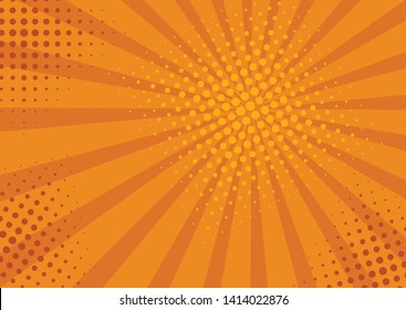 Retro comic rays yellow background. Vector illustration in pop art retro style