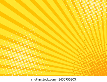 Retro comic rays yellow background. Vector illustration in retro style