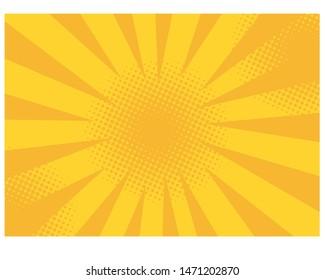 Retro comic rays yellow background. Vector illustration in pop art retro style