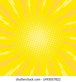 Retro comic rays yellow dots background. Vector illustration in pop art retro style