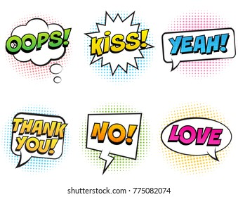 Retro comic speech bubbles with colorful shadows set on white background. Expression text OOPS, KISS, NO, YEAH, THANK YOU, LOVE. Vector illustration, pop art style.