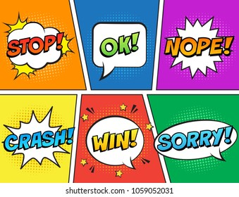 Retro comic speech bubbles set on colorful background. Expression text STOP, OK, NOPE, CRASH, WIN, SORRY. Vector illustration, vintage comic book design, pop art comic bubbles style.