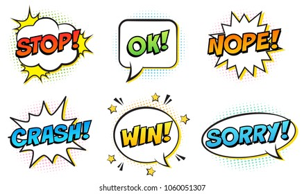 Retro comic speech bubbles set on white background. Expression text STOP, OK, NOPE, CRASH, WIN, SORRY. Vector illustration, pop art style.