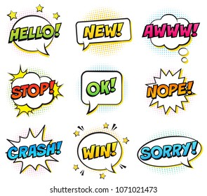 Retro comic speech bubbles set on white background. Expression text HELLO, NEW, AWWW, STOP, OK, NOPE, CRASH, WIN, SORRY. Vector illustration, pop art style.