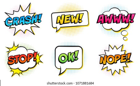 Retro comic speech bubbles set on white background. Expression text STOP, OK, NOPE, CRASH, NEW, AWWW. Vector illustration, pop art style.