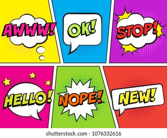 Retro comic speech bubbles set on colorful background. Expression text AWWW, OK, STOP, HELLO, NOPE, NEW. Vector illustration, vintage design, pop art style.