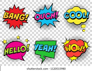 Retro comic speech bubbles set on transparent background. Expression text BANG, COOL, OUCH, HELLO, YEAH, WOW. Vector illustration, vintage design, pop art style.