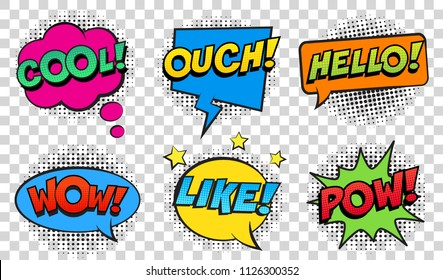 Retro comic speech bubbles set on transparent background. Expression text POW, COOL, OUCH, HELLO, LIKE, WOW. Vector illustration, vintage design, pop art style.