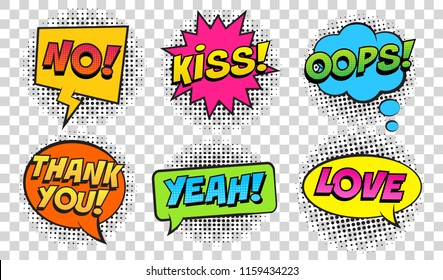 Retro comic speech bubbles set on transparent background. Expression text NO, KISS, OOPS, YEAH, LOVE, THANK YOU. Vector illustration, vintage design, pop art style.
