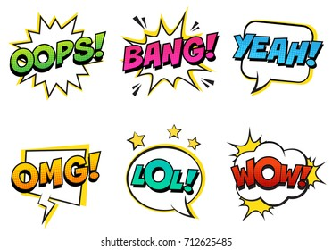 Retro comic speech bubbles set with colorful halftone shadows on white background. Expression text LOL, OMG, WOW, YEAH, OOPS, BANG. . Vector illustration, vintage design, pop art style.
