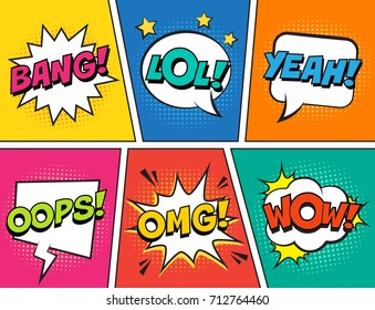 Retro comic speech bubbles set on colorful background. Expression text LOL, OMG, WOW, YEAH, OOPS, BANG. Vector illustration, vintage design, pop art style