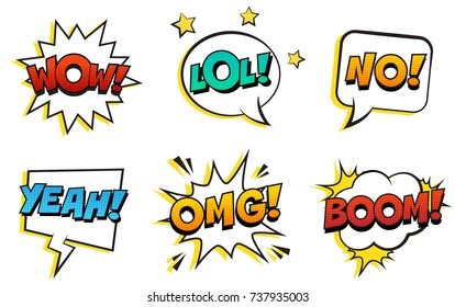 Retro comic speech bubbles set on white background. Expression text WOW, LOL, NO, YEAH, OMG, BOOM. Vector illustration, vintage design, pop art style.