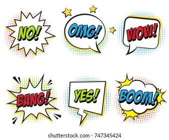 Retro comic speech bubbles set with colorful halftone shadows on white background. Expression text BOOM, OMG, WOW, BANG, NO, YES. Vector bubbles illustration, vintage design, pop art comic style.