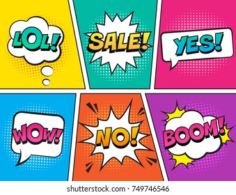 Retro comic speech bubbles set on colorful background. Expression text LOL, NO, WOW, YES, SALE, BOOM. Vector illustration, vintage design, pop art style.