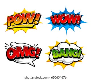 Retro comic speech bubbles with sound effects: Pow, Bang. And expression tags: Omg and Wow. Bright dynamic pop art design elements. Vector illustration.