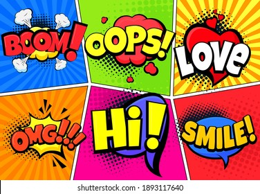 Retro comic splashes, explosions, exclamations. Vector illustration