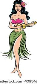 Retro comic style artwork of tropical hula girl playing a ukelele