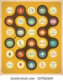 Retro communication concept template. Retro icons and popular 50's slang phrases.