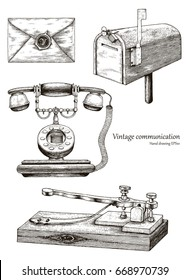 Retro communication equipment hand drawing vintage style