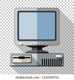 Retro computer with CRT monitor icon in flat style with long shadow on transparent background