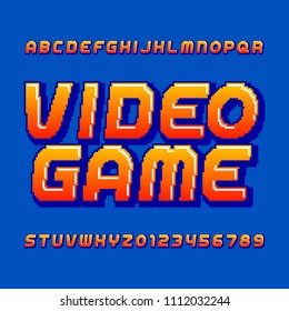 Retro computer game alphabet font. Pixel gradient oblique letters and numbers. 80's arcade video game typography.